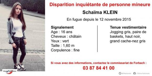 L'avis de la POlice Nationale pour disparition inquiétante concernant Shaïma Klein. Cliquez pour agrandir l'image.