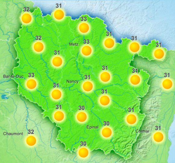 Les températures en Lorraine mercredi 24 août 2016 entre 14h et 17h selon Météo France