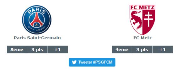 L'affiche du match de ce 21 août 2016 : PSG / FC Metz. Source : lfp.fr