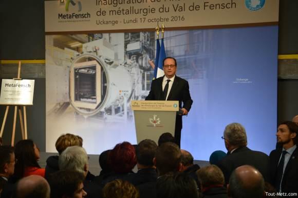 François Hollande dit croire en l'avenir de la vallée de la Fensch grâce à l'action du gouvernement - Metafensch, Uckange - 17 octpbre 2016