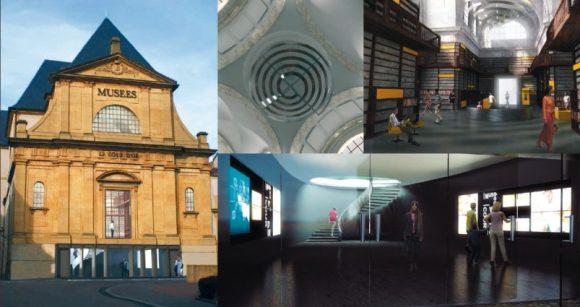 De gauche à droite : La vue extérieure de la nouvelle entrée - Le lustre intégré dans la coupole de la Chapelle - Vue 3D du re-de-chaussée haut avec les boiseries - Vue 3D du rez de chaussée bas en accès rue avec les écrans diffusant les informations sur la programmation.