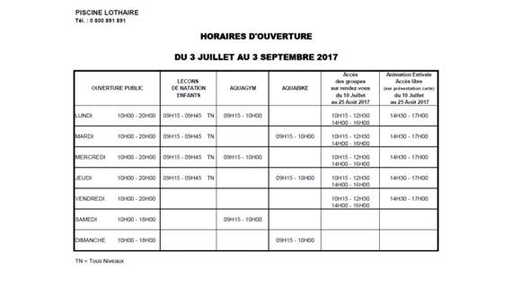 Horaires des piscines metz et 2017 for Piscine lothaire
