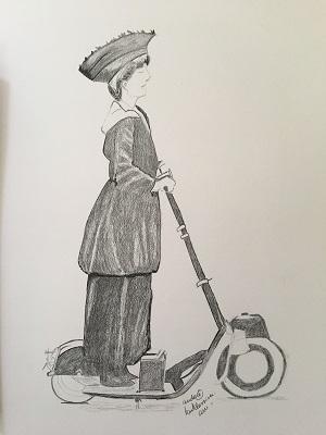 Apprendre à dessiner une femme sur une trottinette facilement.