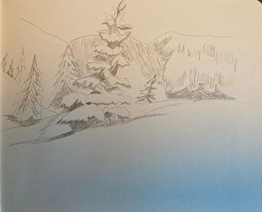 Comment dessiner rapidement un sapin sous la neige