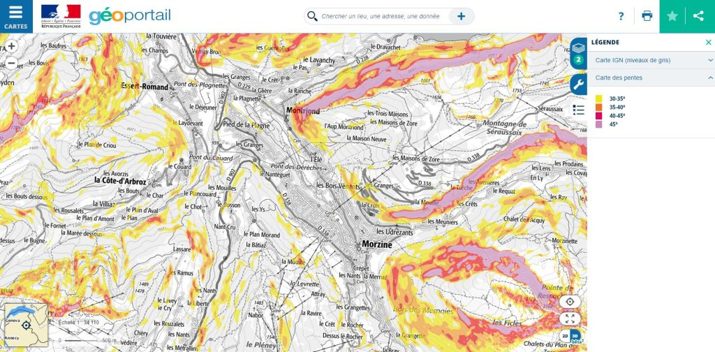 carte des pentes géoportail