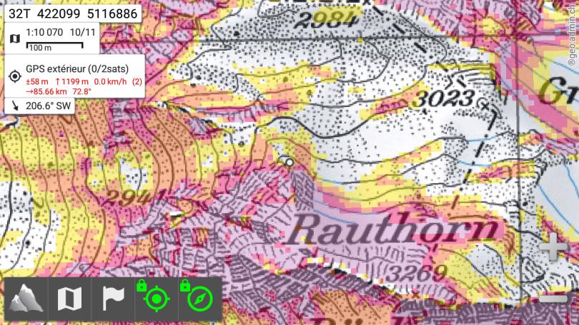 La carte topo suisse dans AlpineQuest
