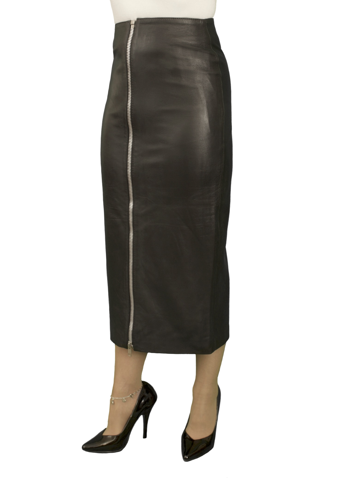 black leather midi pencil