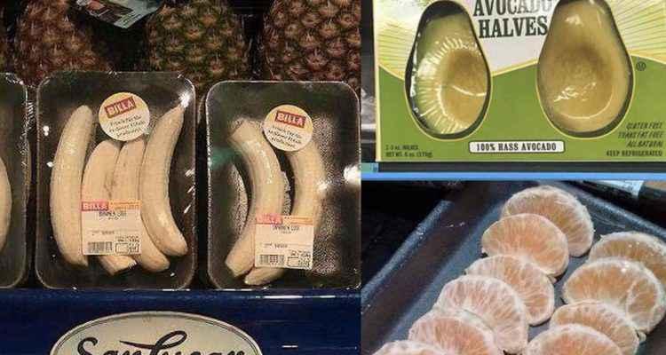 fruits épluchés et emballés sous plastique