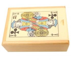 coffret bois belote 10 5 x 7 6 x 3 4 cm avec jeu cartes sans jetons