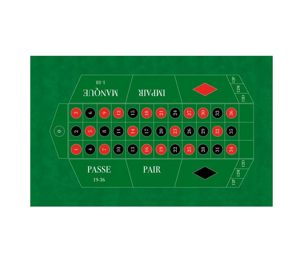 tapis de jeu pour roulette francaise 130 x 80 cm qualite