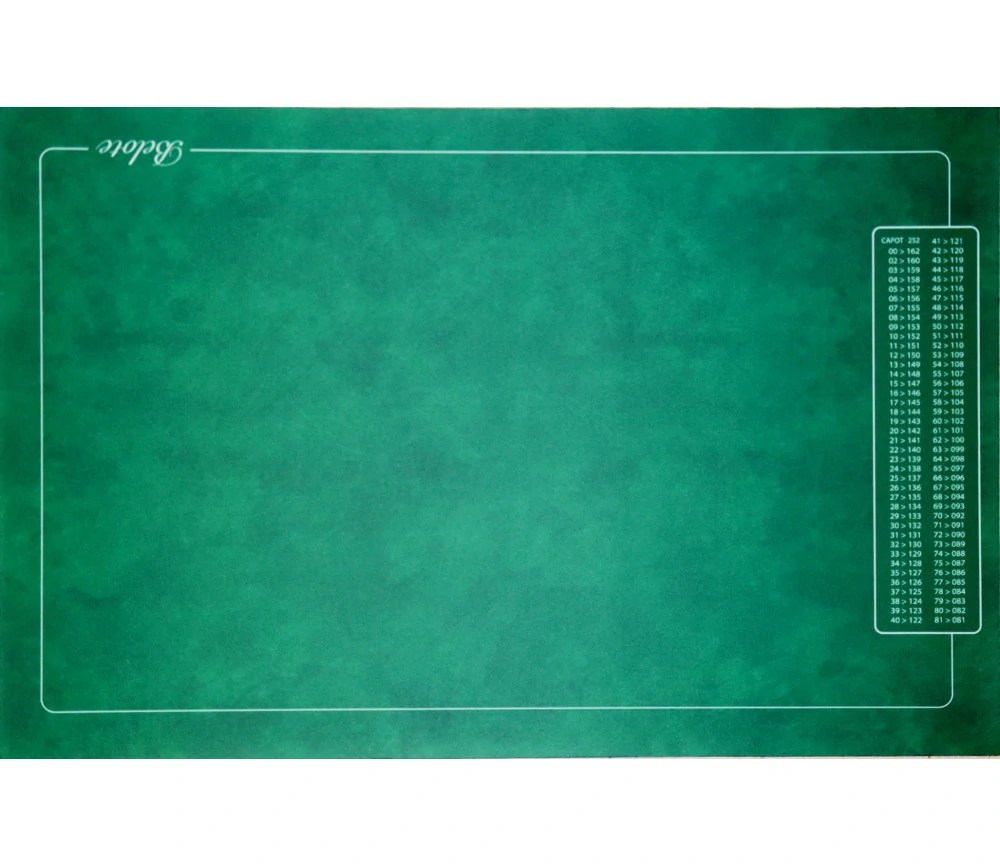 tapis jeu belote vert avec grille points 4 joueurs 40 x 60 cm