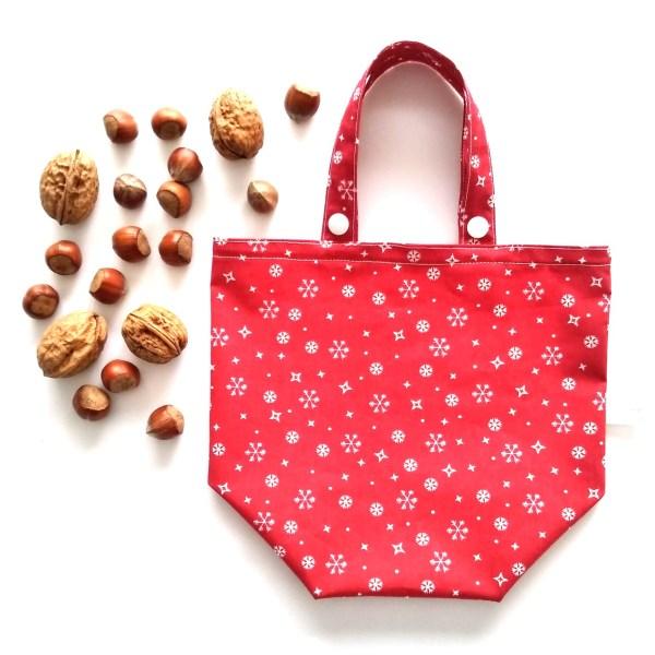 Emballages - Sacs Cadeaux - Flocons - Rouge Blanc