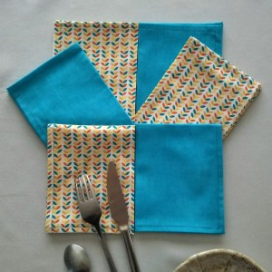 Ramages jaunes - Bleu-terracotta