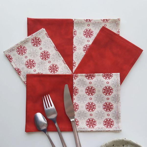 Nouveautés - Art de la Table - Serviettes de Table - Fleurs Graphiques - Rouge Beige Gris