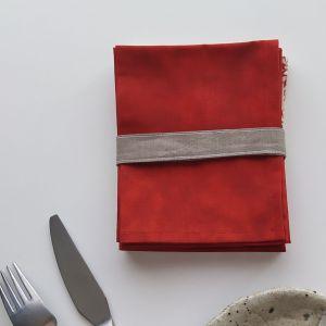 Art de la Table - Serviettes de Table - Fleurs Graphiques - Rouge Beige Gris