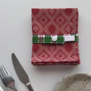 Art de la Table Serviettes de Table - Ornements - Moiré Rouge Crème