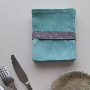 Art de la Table - Serviettes de Table - Petits Triangles - Blanc Menthe