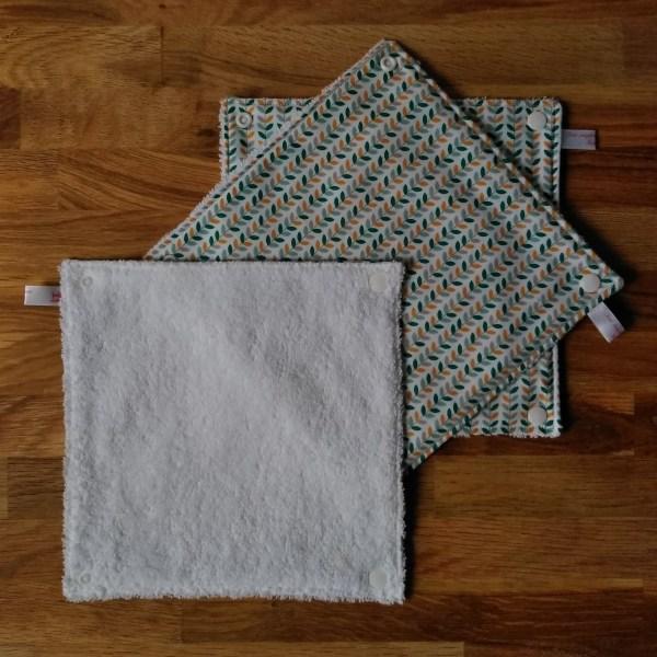 essuie-tout lavables feuilles vert ambre