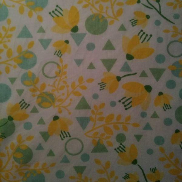 essuie-tout lavables fleurs géométrie jaune blanc
