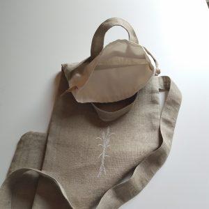 sac à pain toile de lin broderie 3 épis