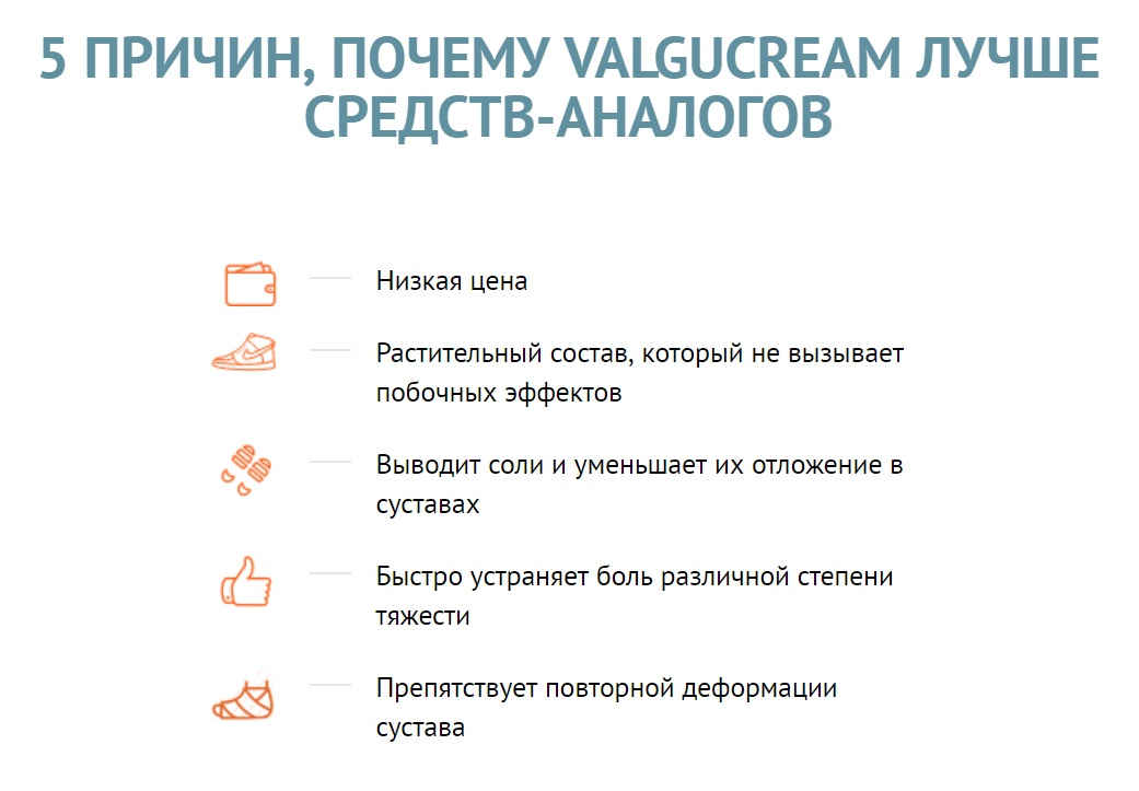 Главные преимущества Valgucream