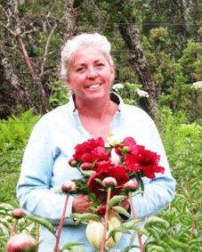 Beth Van Sandt in her peony fields