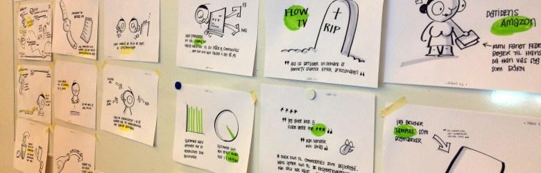 Eksempel på ideer, som er visualiseret ved hjælp af metoden sketching.