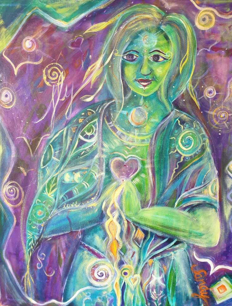 painting of woman with pleasing features who has light pouring from her heart. An original painting by Sandy Skinner Artist. All rights are served by the artist.