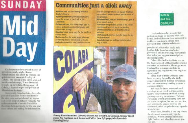 Newspaper featuring my website
