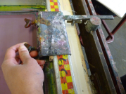 setting up the clamp against the stopper for the repeat