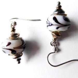 meryl lusher,blackand white striped earrings