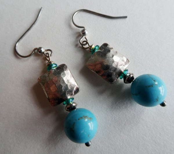 Meryl Lusher thai silver and turquoise bead earrings