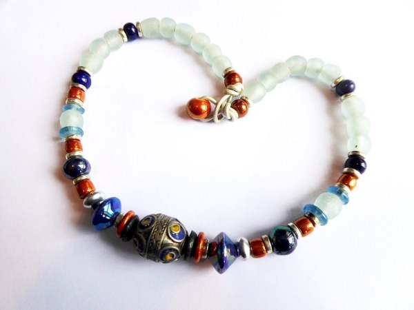 meryl lusher, blue, white, red and silver krobo bead necklace