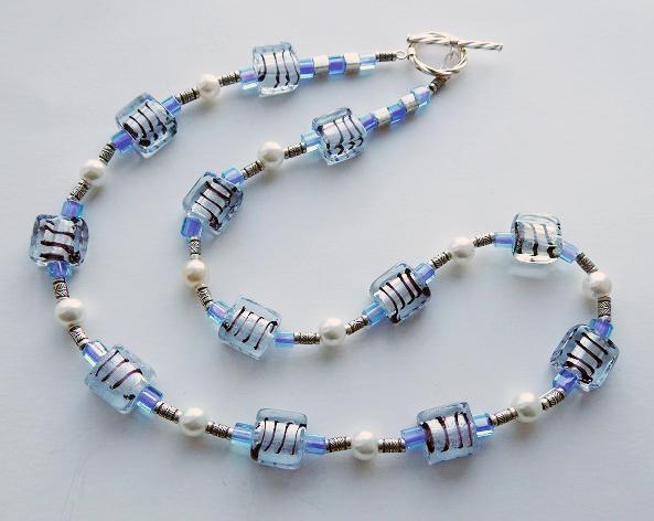 meryl lusher striped blue necklace  copy