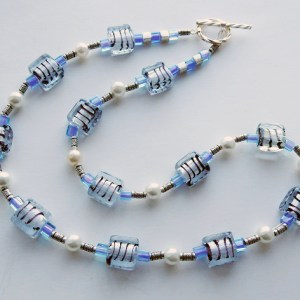 meryl lusher striped blue necklace  copy