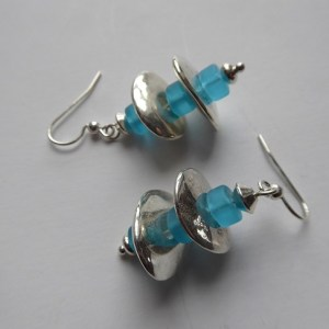 meryl lusher,silver and lightblueearrings
