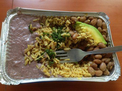 Rice, beans & gnut sauce