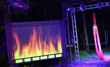 Fire-Large-Screen-Projection with truss