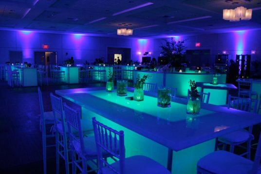 community tables, illuminated furniture, mitzvah event production