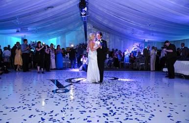 Dance-floor-with-wedding-monogram-and-confetti
