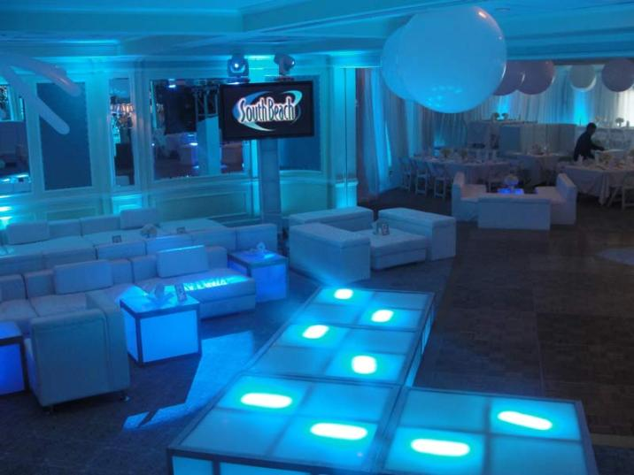 LED stage decks and lounge decor