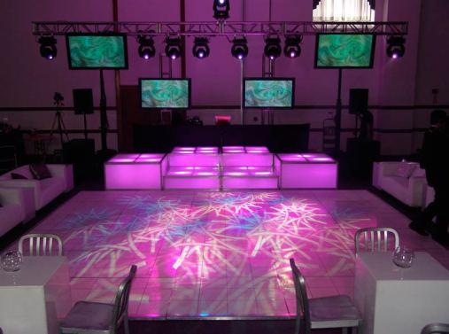 patterned dance floor lighting