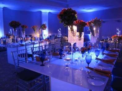 Illuminated white acrylic tables