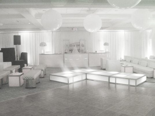 White-orb-props-LED-stage-decks-white-lounge-decor-and-white-half-round-bar