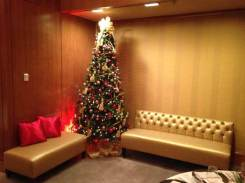 corporate holiday event party with gold lounge furniture