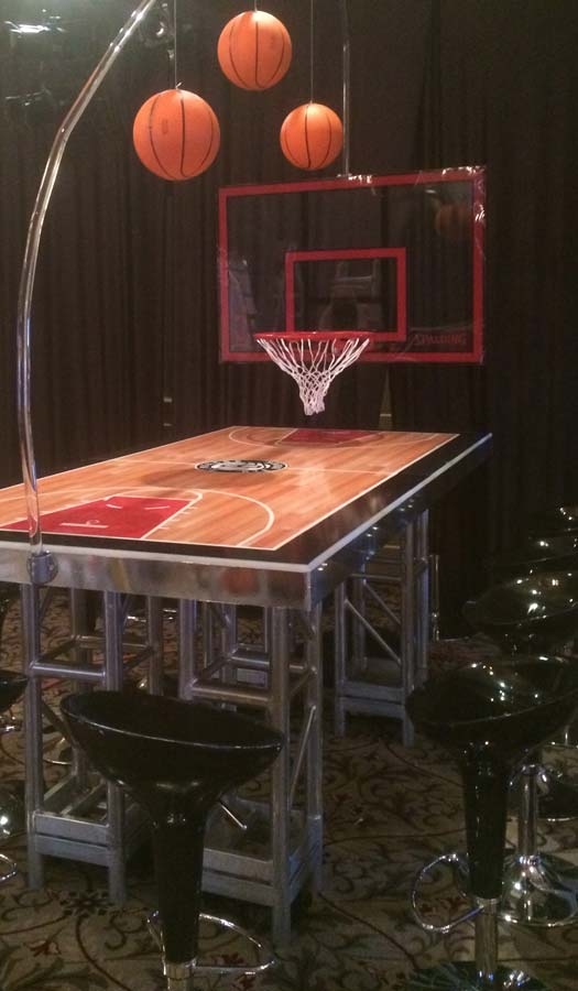 Basketball Mitzvah Basketball Court Table With Black Scoop