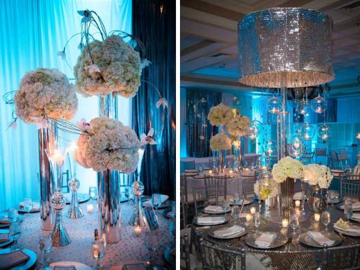 mitzvah-table-setting-silver-striped-tablecloth-and-chandelier-silver-crystal-and-fresh-flower-centerpieces