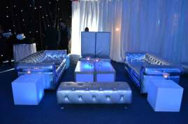 space theme bar mitzvah with silver lounge decor rental