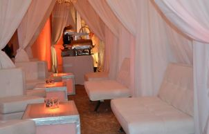 white-and-gold-mitzvah-with-white-privacy-booths-and-large-buffet-table