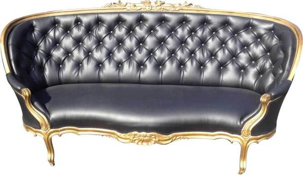 Dark Silver Black Tufted Canape Sofa